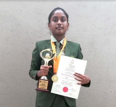 "H T Navodi Divyanjali of Asian Grammar School has won the 1st place of Junior Section of the ""State Children's Art Competition - 2018"